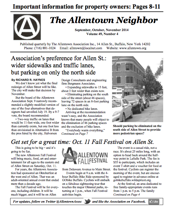 Allentown newsletter-Fall 2014-cover